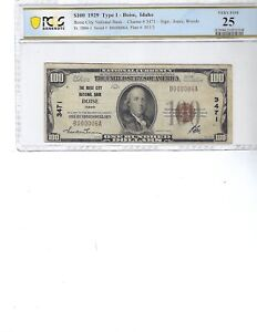 1929 $100 National Bank Note FR1804-1 CH3471 Boise, Idaho!!! PCGS 25 VF, INK!!!