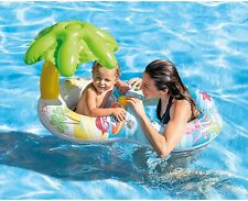 Intex Inflatable Palm Tree Double Swimming Swim Tube Baby Pool Float w Sun Shade