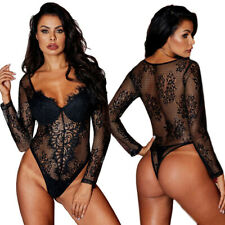 Body donna pizzo sexy lingerie intimo rete manica lunga top trasparente DS32466