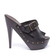 Burberry Ankle-Strap Size D 39 Braun Ladies Shoes High Heels Shoes New Leather