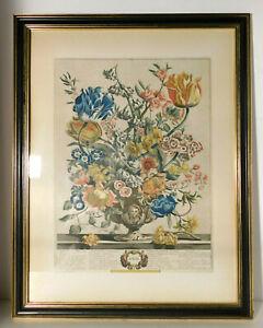Colonial Williamsburg Furber April Floral Engraving in Original CW Frame