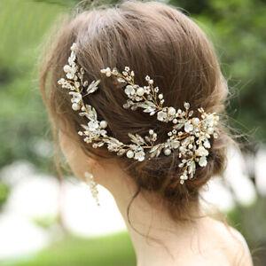 27 x 13cm Gold Handmade Flower Bridal Head Pieces Hair Clip Accessories Earrings