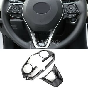 For Toyota RAV4 2019-2021 Carbon Fiber Steering Wheel Switch Trims Accessories