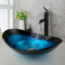 US Bathroom Vanity Glass Vessel Sink With Black Oil  Waterfall Mixer Faucet Set