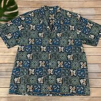 Royal Creations Vintage Hawaiian Shirt Size XXL Classic Blue Pineapples Turtles