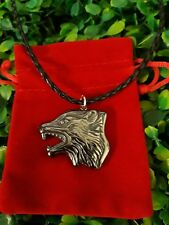 Hematite Carved Wolf Gemstone Crystal Pendant Necklace Strength Wicca + Gift Bag