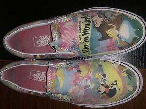 Vans x Disney Alice in Wonderland Sneakers shoes slip on men's 7.5 women's 9