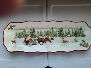 "Better Homes & Gardens WINTER FOREST Rectangular Platter Tray Heritage 15"" x 5"""