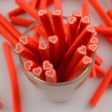 10 Canes Fimo (pâte polymère) Coeur Rouge et Blanc ~5cm Nail Art