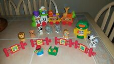 Fisher Price Little People Musical Zoo Zebra Train & Petting Zoo Playsets Lot