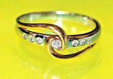 AD1 GORGEOUS 14K Yellow White GOLD 7 Round DIAMONDS RING Size 7.25 Ladies