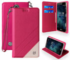 WRIST STRAP WALLET SLOT CREDIT CARD CASE STAND FOR LG ARISTO, FORTUNE, PHOENIX-3
