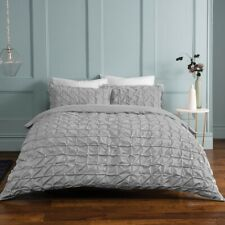 Light Grey Rouched Pleat Duvet Bedding Set & Pillow Cases Single Double King