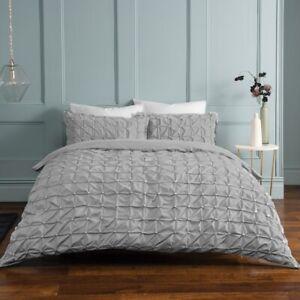 Light Grey Rouched Pleat Duvet Bedding Set & Pillow Cases Single Double King