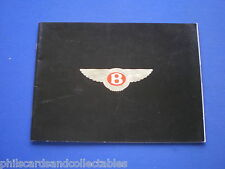 Bentley Eight,  Mulsanne S,  Turbo R,  Continental - 32 page brochure  1988