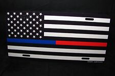 THIN BLUE AND THIN RED LINE METAL LICENSE PLATE BLACK AND WHITE AMERICAN FLAG