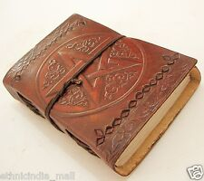 Handmade Paper Leather Bound Journal Diary Blank Pentagram Book of Shadows SMALL