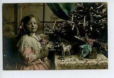 Girl w Christmas Toys RPPC Wooden Horse—Doll—Tree—Veracruz to St. Louis Photo