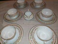 Vintage PT Bavaria TIRSCHENREUTH Blush Rose Gold Edge Tea Cup Set - Set Of 6