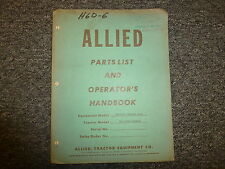 Allied Straight Blade Dozer for Allis Chalmer HD7 Parts Catalog Owner Manual