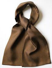 "Brown & green pin dot Silk Cravat 59"" x 6"" New, hand made in England"
