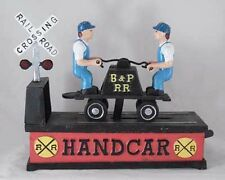 Railroad Hand Car Mechanical Bank Cast Iron Cabin Lodge Home Man Cave Barn Decor