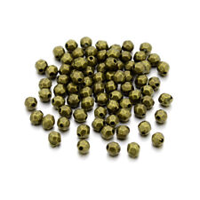 1000 Tibetan Alloy Oval Metal Beads Faceted Tiny Nickel Free Spacers Bronze 4mm