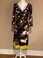 ROBERTO CAVALLI PRINTED LONG SLEEVES DRESS, SZ 42/6 , EXCELLENT CONDITION