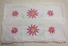 Hand Embroidered Pillowcases Pink flowers