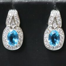 Antique Vintage Blue Aquamarine Earrings with Paved CZ Nickel Free Jewelry Gift