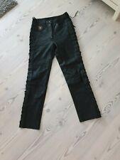 Reusch Biker Lederhose mit Seitlicher Schnürrung Gr.38 Schwarz Echtleder