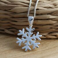 925 Sterling Silver Snowflake Pendant Necklace16-30'' Curb Chain Charm Gift Box