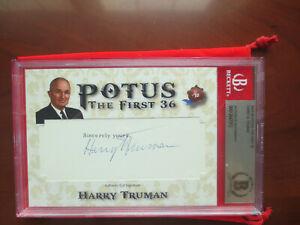 President Harry Truman 2020 Historic Autographs POTUS Cut Auto Beckett Auth BAS