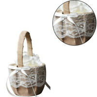Burlap Flower Basket Lace Bow Flower Girl Basket for Wedding Ceremony HLD8