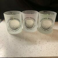 3 Golfing Hazards Frosted Tumblers Drinking Glasses Dartington Golf
