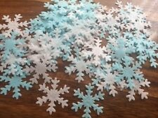 50+ PRE CUT white blue Frozen snowflakes rice paper edible party cupcake toppers