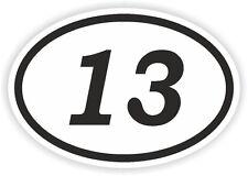 13 NUMERO TREDICI Ovale Adesivo Paraurti Decalcomania AUTO MOTOCROSS MOTO aufkleber