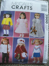 """SEWING PATTERN MCCALL'S 3900 FOR 18"""" SIZE DOLLS WARDROBE COAT NIGHTGOWN TOP NEW"""
