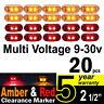 20X 12V 24V Side Marker Amber Red Clearance Lights LED Trailer Truck UTE