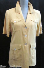 Silk house mustard safari sexy jacket light coat lined Blazer S/S button S NWT