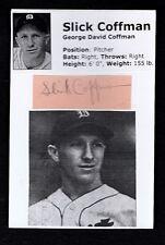 1937-39 SLICK COFFMAN-DETROIT TIGERS AUTOGRAPHED CUT W/ PHOTO-(d.2003)