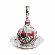 Hand-crafted and painted Iznik Ceramic Plate and Vase