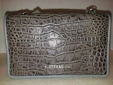 Judith Ripka Hudson Croco Embossed Grey Leather Clutch with Chain Strap
