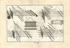 Stampa antica TESSITURA GARZA Pl 2 Enciclopedia Diderot 1786 Old antique print