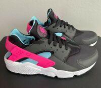 Mens Sz 10 Nike Air Huarache Run Shoes Black Laser Fuchsia Blue BV2528 001