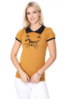 YEMAK Women's Meow Cat Contrast Collar Short Sleeve Pullover Sweater MK3591MEOW