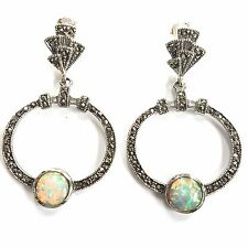 Sterling Silver 925 Art Deco Style White Gilson Opal & Marcasite Hoop Earrings