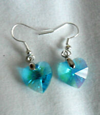 Dangle earrings - blue faceted glass 14mm hearts
