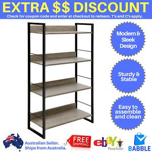 4 Tier Book Shelf Bookcase Display Unit Shelves Wood Metal Stand Storage Corner