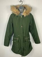 WOMENS DOROTHY PERKINS KHAKI ZIP UP PARKA PARKER COAT WITH FUR HOOD  SIZE 10